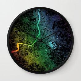 Kolkata, India, City, Map, Rainbow, Map, Art, Print Wall Clock