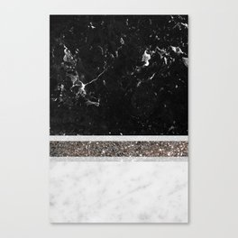 Black and White Marble Silver Glitter Stripe Glam #1 #minimal #decor #art #society6 Canvas Print