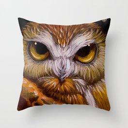 FANTASY SAW WHET OWL WATCHING YOU Throw Pillow