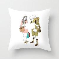 moonrise kingdom Throw Pillows featuring moonrise kingdom by joshuahillustration