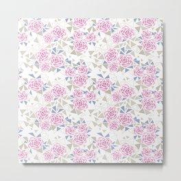 Modern . Geometric pattern . Roses . 1 Metal Print