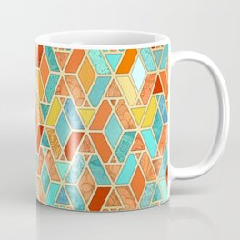 Tangerine & Turquoise Geometric Tile Pattern Coffee Mug