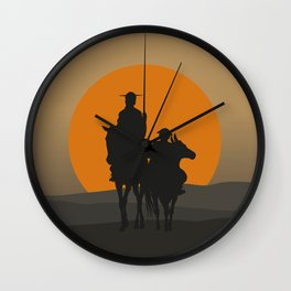 Don Quixote de la Mancha Silhouette, of Cervantes spanish novelist, at sunset Wall Clock