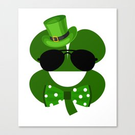Clover Emoji With Green Top Hat Cool St Patricks Day Canvas Print
