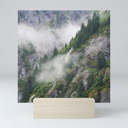 Breathtaking Alaska Rugged Mountain Valley Shrouded in Mist Mini Art Print