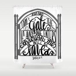 John 10:9 - Jesus saves Shower Curtain