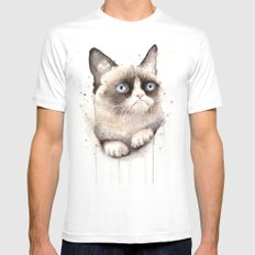 Grumpy Watercolor Cat Animals Meme Geek Art SMALL Mens Fitted Tee White