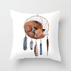 Fox Dreamcatcher Throw Pillow