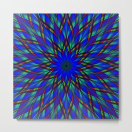 Stained glass flower mandala Metal Print