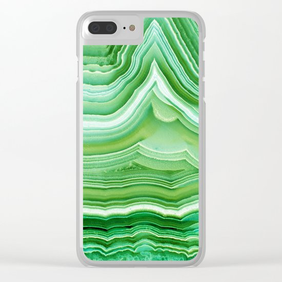 Agate crystal green Clear iPhone Case