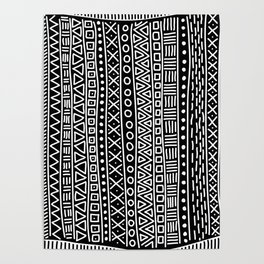 Black white hand painted geometrical aztec pattern Poster