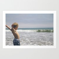 Waiting for the waves! Art Print