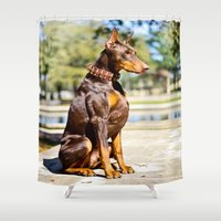doberman Shower Curtains featuring Always Packin' by Paw Prints By Jamie