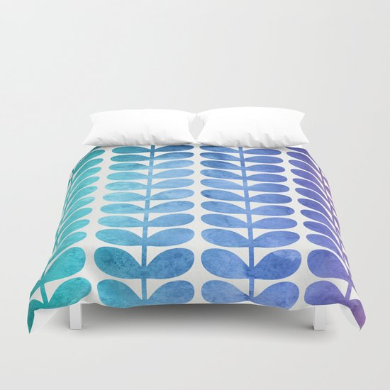 Colorful Leaves from Turquoise to Levender Duvet Cover