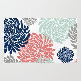 Floral, Chrysanthemums, Coral, Pink, Aqua, Navy, Blue Rug