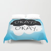 fault in our stars Duvet Covers featuring OKAY? OKAY. The Fault in Our Stars by Alan Lima