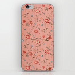 Classic Western Vintage Red Floral Textile iPhone Skin