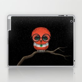 Baby Owl with Glasses and Lebanese Flag Laptop & iPad Skin