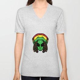 Reggae Alien Head Illustration Unisex V-Neck