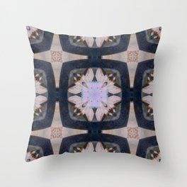 Fringed Petals on Peach Flower Pattern Throw Pillow