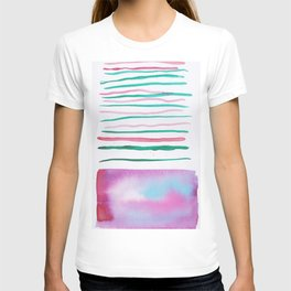 25  |181026 Lines & Color Block | Watercolor Abstract | Modern Watercolor Art T-shirt