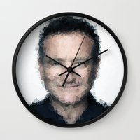 robin williams Wall Clocks featuring Robin Williams by lauramaahs