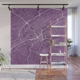 Knoxville Map, USA - Purple Wall Mural