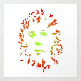 Green Flower Face Art Print
