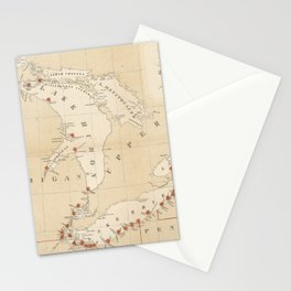 Vintage Great Lakes Lighthouse Map (1848) Stationery Cards