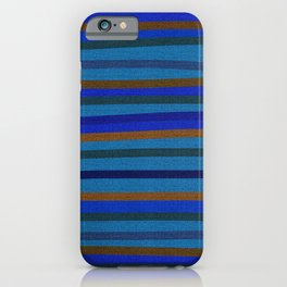 Denim Stripes in Blue, Tan, Cyan & Chocolate iPhone Case