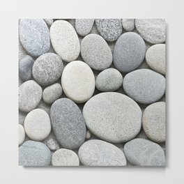 Grey Beige Smooth Pebble Collection Metal Print
