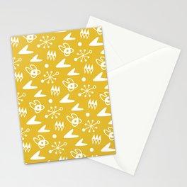 Mid Century Modern Atomic Boomerang Pattern Mustard Yellow Stationery Cards