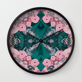 Mandala Mini-Print on Emerald Green Silk Wall Clock