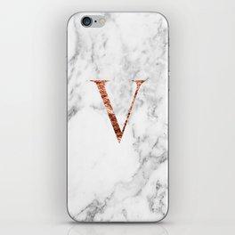 Monogram rose gold marble V iPhone Skin