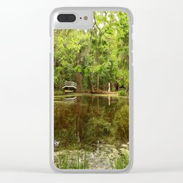 Magnolia Garden White Bridge Clear iPhone Case