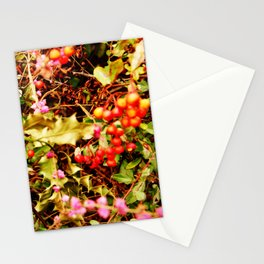 Winter blossom and berries Stationery Cards