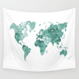 World map in watercolor green Wall Tapestry