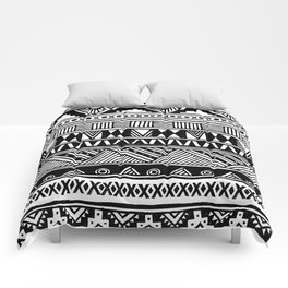 Black White Cute Girly Urban Tribal Aztec Andes Abstract Geometric Hand-drawn Pattern Comforters