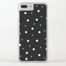 Grey and white Polka Dots Clear iPhone Case