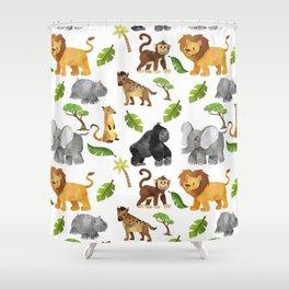 Safari Animals Pattern Watercolor Shower Curtain
