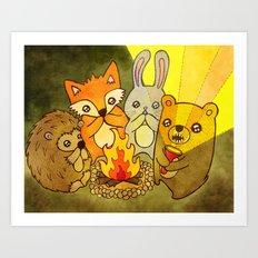 Woodland Campfire Stories Art Print