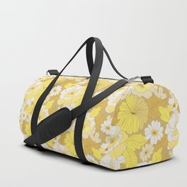 Yellow, Ivory & Brown Retro Flowers Duffle Bag