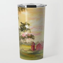 Red Barn, Farm Painting, by Faye Travel Mug