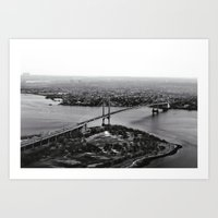 Manhattan Bridge Aerial Art Print