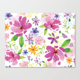 Whimsical Girly Flower Pattern Canvas Print