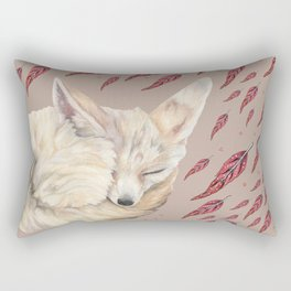 Fennec Fox Feather Dreams in Taupe Rectangular Pillow