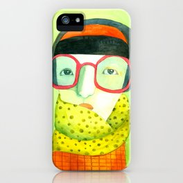 Portrait with glasses iPhone Case
