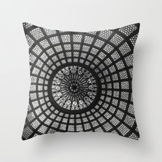 Tiffany Glass Dome Black/White Photography Throw Pillow