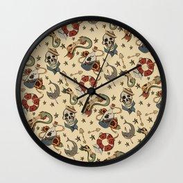 Navy Sailor Tattoo Pattern Wall Clock