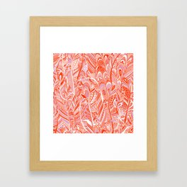 Abstract red coral lilac hand painted bohemian feathers pattern Framed Art Print